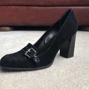 Franco Sarto Black Patent and Suede Leather Heels